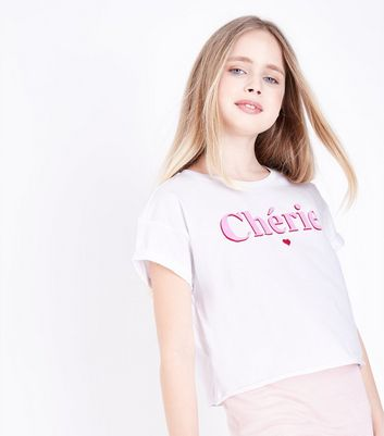 Teens White Chérie Slogan T-Shirt