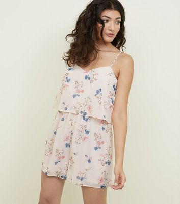 Pink Floral Layered Chiffon Playsuit by New Look