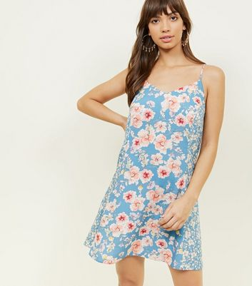 Blue Floral Slip Dress by New Look