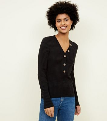Black Ribbed Button Trim Jumper