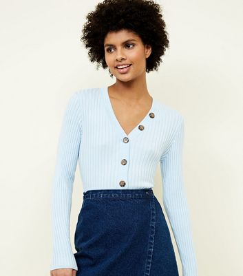 Pale Blue Ribbed Button Trim Jumper