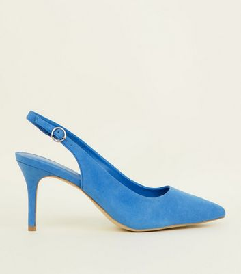Blue Suedette Pointed Slingbacks