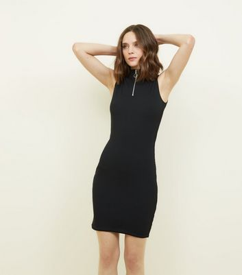 Black High Zip Neck Ribbed Bodycon Dress