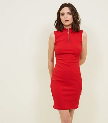 Red High Zip Neck Ribbed Bodycon Dress