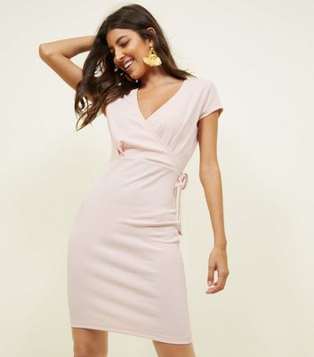 Pale Pink Ribbed Wrap Front Bodycn Dress
