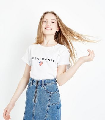 Teens White Santa Monica T-Shirt