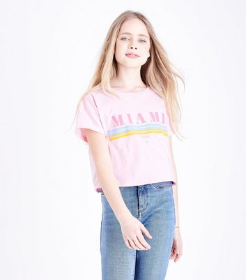 Teens Pink Miami Slogan T-Shirt