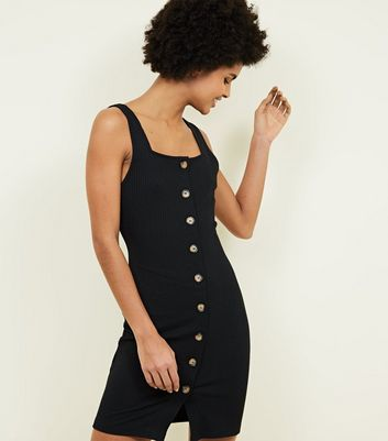Black Ribbed Square Neck Bodycon Dress