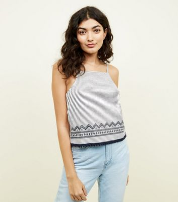 White Stripe Embroidered Border Cami
