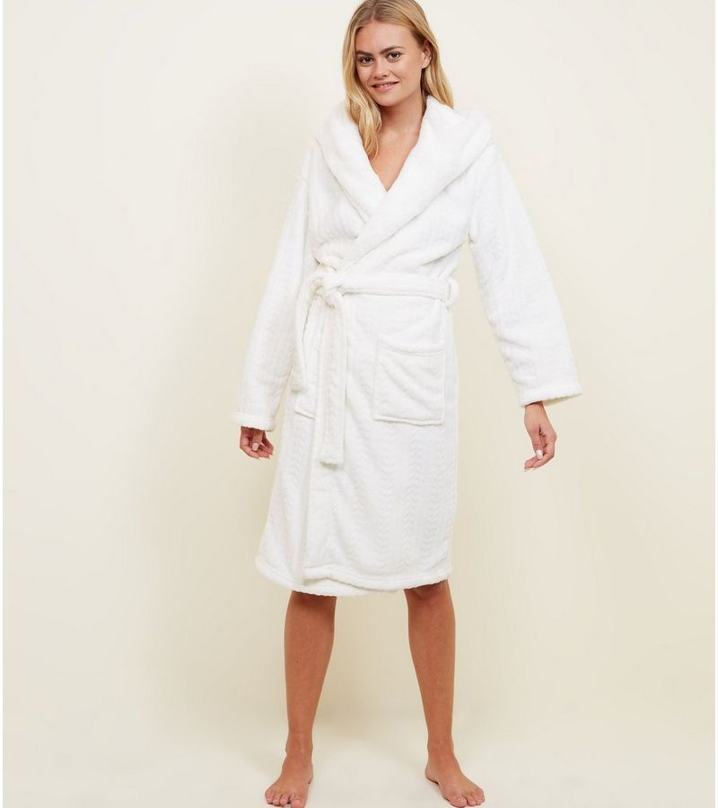 New Look Off White Fluffy Hooded Dressing Gown at £22.99 | love the ...