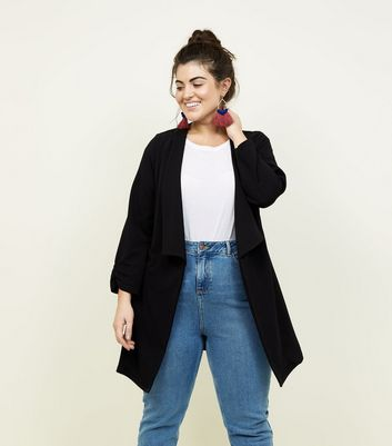 Curves Black Longline Waterfall Blazer