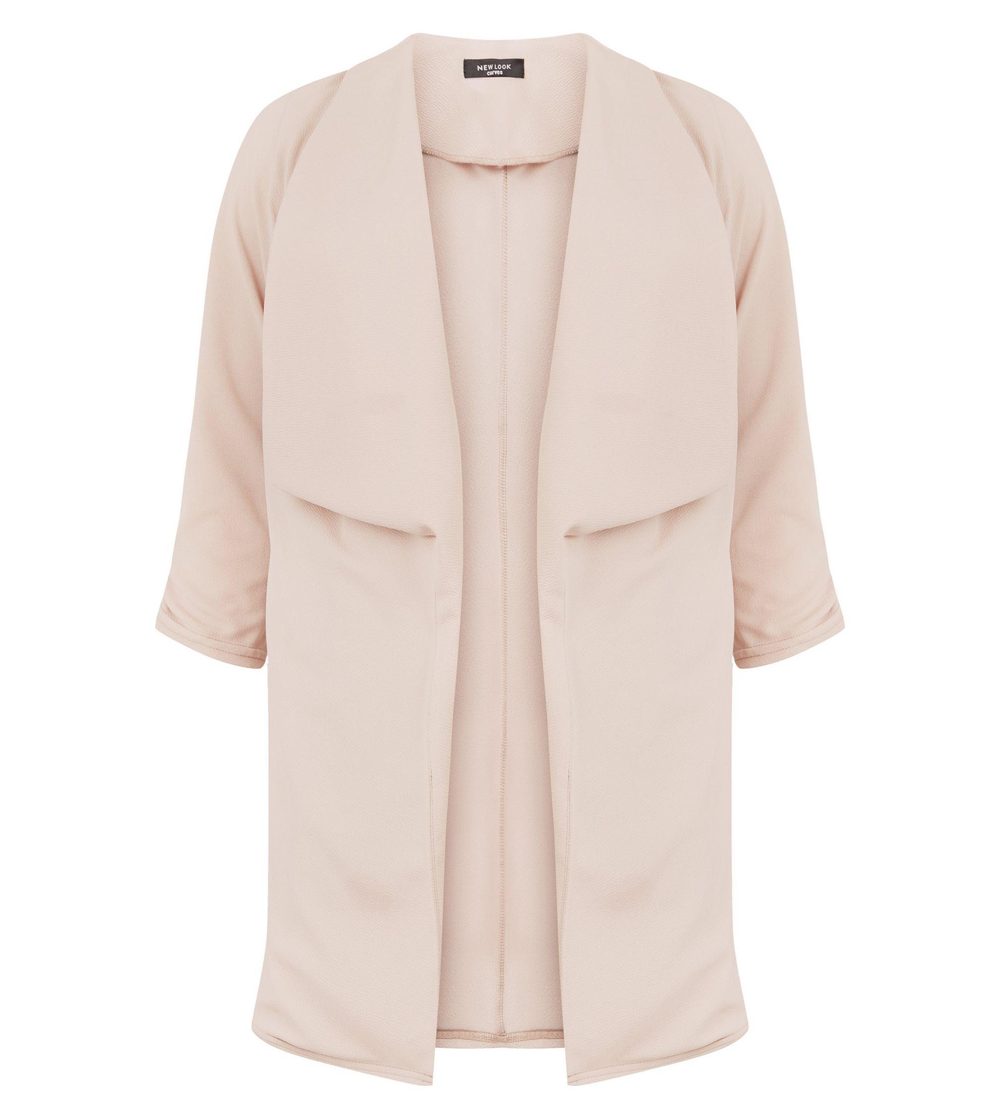 1fb05269f62 New Look Curves Pink Longline Waterfall Blazer at £24.99
