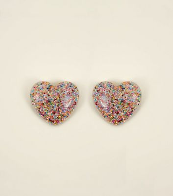 Multicoloured Glitter Heart Stud Earrings