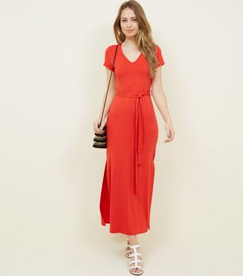 Red V-Neck Jersey Maxi Dress