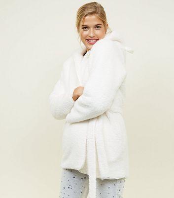 Shoptagr | Cream Teddy Faux Fur Hooded Ears Dressing Gown by New Look
