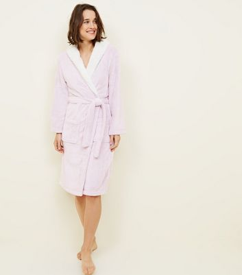 Pink Hooded Borg Trim Dressing Gown by New Look