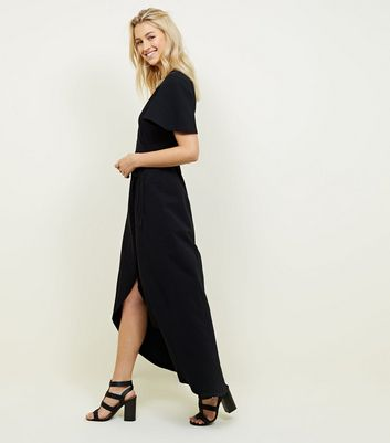 Black Jersey Wrap Front Maxi Dress