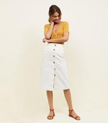 Off White Button Through Denim Midi Skirt