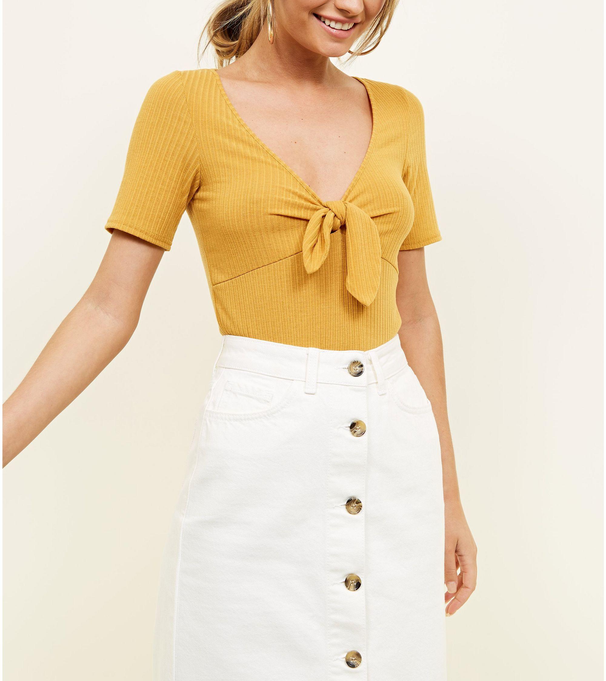 de14ade443 New Look Off White Button Up Denim Midi Skirt – DACC