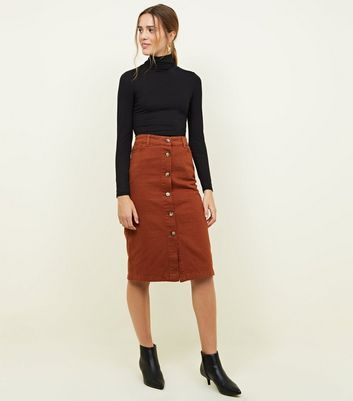 Rust Button Up Denim Midi Skirt