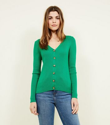 Green Button Front Cardigan