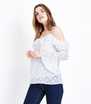 QED White Frill Trim Cold Shoulder Top