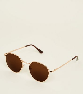 Gold Tinted Rounded Sunglasses