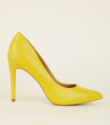 Yellow Leather-Look Pointed Court Shoes