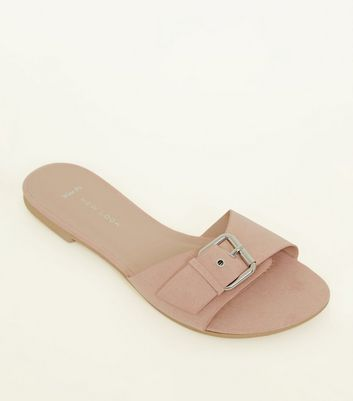 Wide Fit Nude Suedette Buckle Strap Sliders by New Look