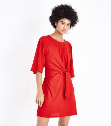 Cameo Rose Red Tie Front Mini Dress