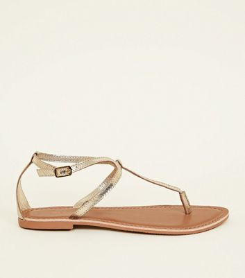 Wide Fit Gold Leather Flat Sandals