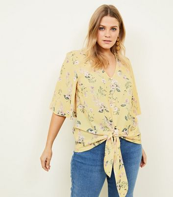 Curves Yellow Floral Tie Button Front Blouse