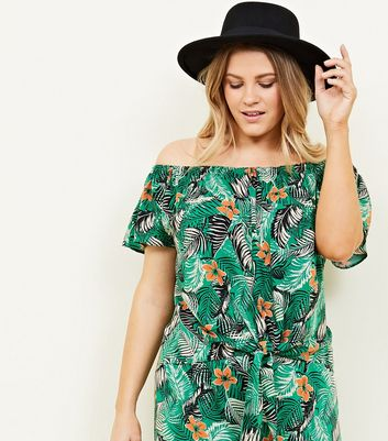 Curves Green Tropical Floral Bardot Top