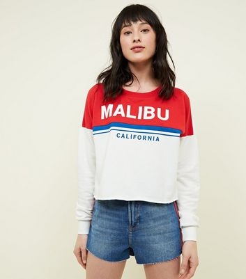 Sweat écru color block design Malibu