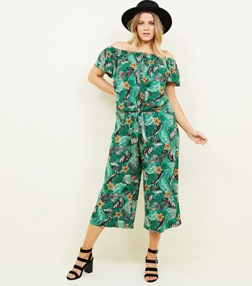 Curves Green Tropical Floral Cropped Trousers