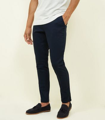 Navy Half Elasticated Slim Fit Trousers