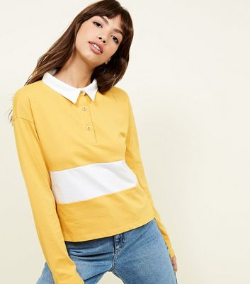 Mustard Colour Block Rugby Top