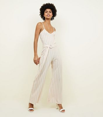 Pink Vanilla Stripe Buckle Wide Leg Jumpsuit