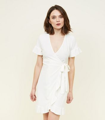 Blue Vanilla Cream Frill Wrap Front Dress by New Look