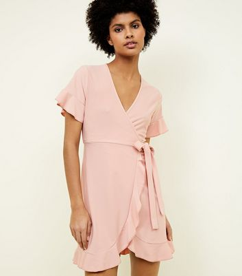 Blue Vanilla Pale Pink Frill Wrap Front Dress