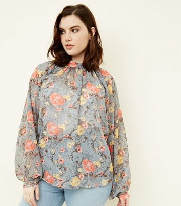 Blue Vanilla Curves Grey Floral Blouse