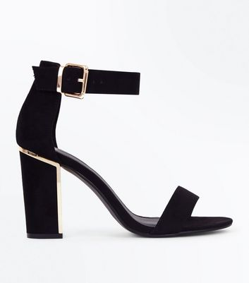 Wide Fit Black Suedette Metal Trim Block Heels