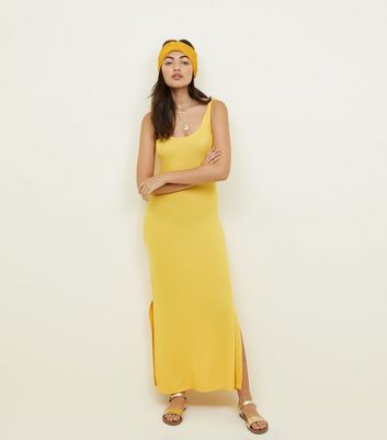 Yellow Ribbed Sleeveless Maxi Dress