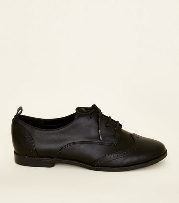 Girls Black Comfort Leather-Look Brogues