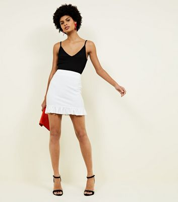 Off White Frill Hem Skirt