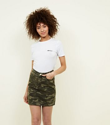 Khaki Camo Denim Skirt