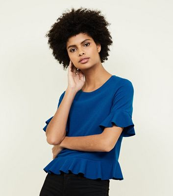Blue Ruffle Trim 1/2 Sleeve Top