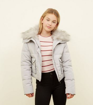 Girls Dark Grey Faux Fur Trim Short Puffer Coat