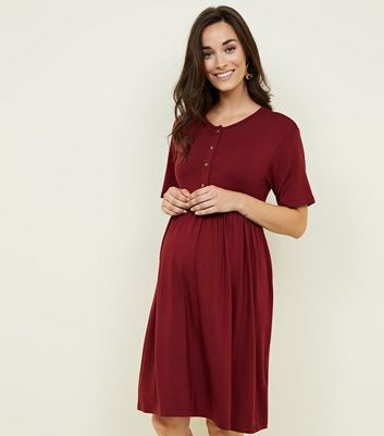 Maternity Burgundy Button Front Nursing Smock Dress