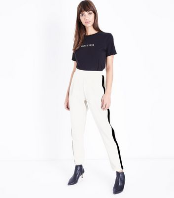 White Side Stripe Jersey Tapered Trousers